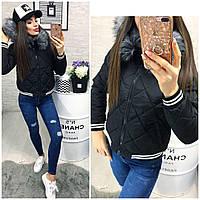 Женская короткая куртка с мехом ткань плащевка наполнитель холофайбер Китай черная, фото 1