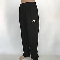 Спортивные штаны прямые в стиле Nike (большой размер) трикотажные р. 56,58,60,62,64 черные, фото 1