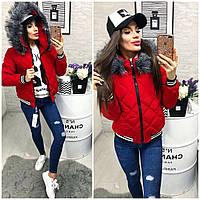 Женская короткая куртка с мехом ткань плащевка наполнитель холофайбер Китай красная