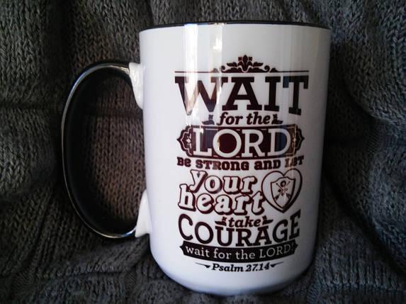 "Кружка ""Wait for the Lord"",(з чорним вушком) 425 мл  , фото 2"