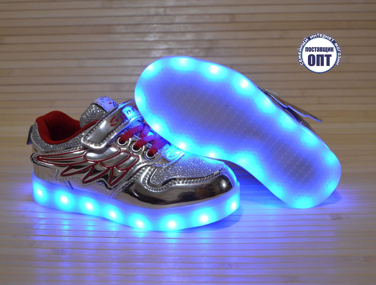 Кроссовки для девочки со светящейся LED подошвой с USB кабелем размеры