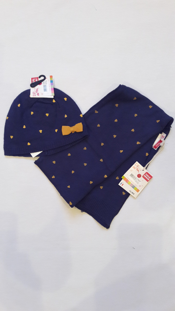 Шапочка с шарфиком для девочки DPam сердечки
