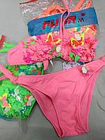 Купальник для девочки на 6, 7, 8 лет раздельный неоновых цветов яркие с бахромой и бабочками