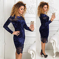 Красивое женское платье с гипюром ткань бархат-муар синее