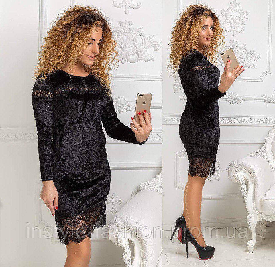 Красивое женское платье с гипюром ткань бархат-муар черное