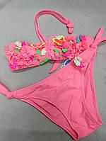 Купальник для плавания, купания, раздельный неоновых цветов яркие с бахромой и бабочками