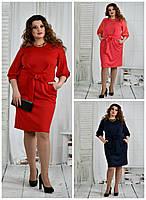 Платье 770403 р 42,44,46,48,50,52,54,56,58,60 батал женское синее красное розовое деловое большое летнее