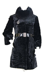Мутоновая шуба черная рукав три четверти 8138-2