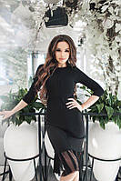 Красивое женское платье с сеткой материал креп дайвинг черное