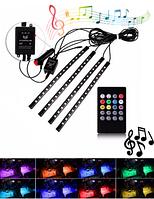 Cветодиодная лента с музыкальным контроллером для подсветки салона  авто с RGB пультом ДУ