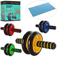 Тренажер MS 0872 (36шт) колесо для мышц пресса, 27см,диаметр14см, 4 цвета, в кор-ке,20,5-20-9см