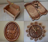 Сувениры и подарки из дерева (гравюры, панно, часы, нарды, декоративные элементы для мебели)