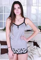 Пижама с шортами женская Йорки трикотажная хлопковая домашняя