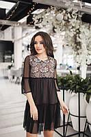 Женское платье с сеткой, верх гипюр цвет черный с бежевым