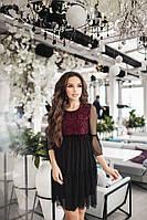 Женское платье с сеткой, верх гипюр цвет черный с бордовым
