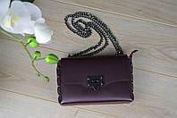 Кожаная бордовая сумка-клатч Leather Contry
