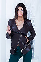 Женская стильная кожаная куртка Мелисса (3 цвета) 42, Тёмно коричневый