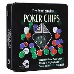 """Гра """"Покер"""" BT-T-0091 100 штук фішок в металевій коробці"""