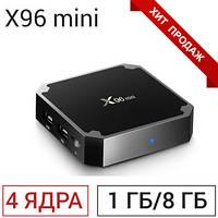ХИТ! Смарт ТВ приставка Android TV Box X96 Mini 1GB+8GB 4 ядра 2.0 ГГц + Видеокарта 4-ядерная Mali-450