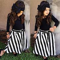 Набор для девочки из 3 пред-футболка+юбка+повязка на голову