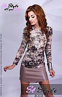 Женское модное платье с кожзамом