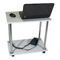 """Прикроватный журнальный столик """"Loco"""" для ноутбука или завтрака, на роликах белый, Тавол"""