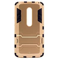 ХИТ! ЧЕХОЛ Motorola Ударопрочный чехол-подставка Transformer для Motorola Moto X Play (XT1562) с мощной защитой корпуса Золотой / Champagne Gold