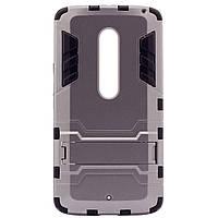 ХИТ! ЧЕХОЛ Motorola Ударопрочный чехол-подставка Transformer для Motorola Moto X Play (XT1562) с мощной защитой корпуса Металл / Gun Metal