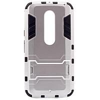 ХИТ! ЧЕХОЛ Motorola Ударопрочный чехол-подставка Transformer для Motorola Moto X Style (XT1572) с мощной защитой корпуса Серебряный / Satin Silver