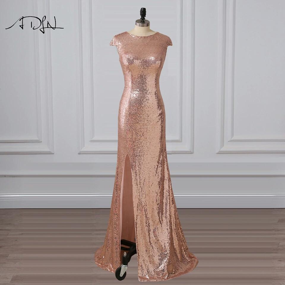 Вечернее платье длинное с золотыми пайетками и разрезом