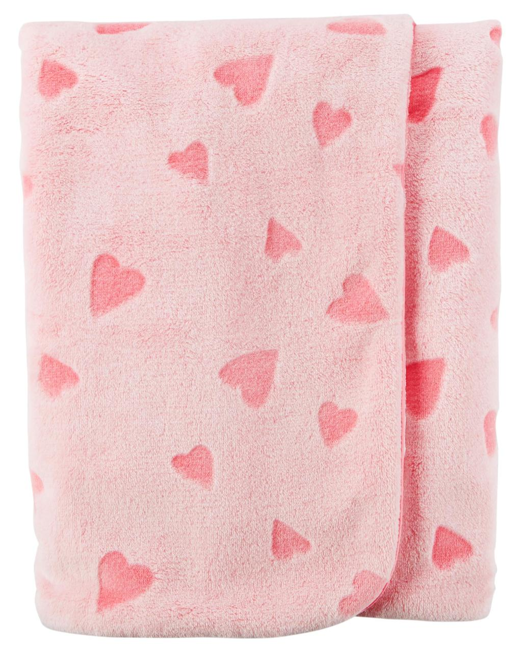 Теплый плюшевый плед для девочки Carters Сердечки Heart Plush Blanket
