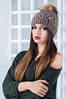 Женская шапка с меховым помпоном Тони (6 цветов)