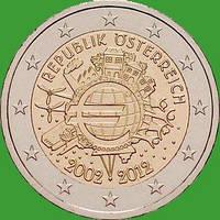 Австрия 2 евро 2012 г. 10 лет наличному обращению евро . UNC.