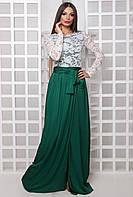 Женское длинное платье с разрезом Клео зеленый(42-44)