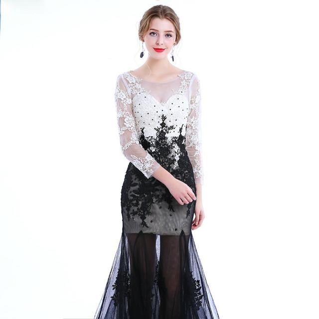 a386cd904652c31 Изысканное черное кружевное платье в пол с длинным рукавом. Верхняя часть  платья выполнена из кружева с цветочным узором.+ камни.Вырез горловины  круглый ...