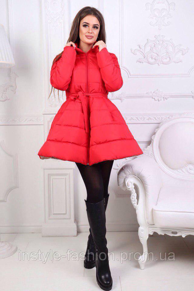 Куртка-пальто колокольчик ткань непромокаемая плащевка на трикотаже синтепон на силиконе 250 цвет красный