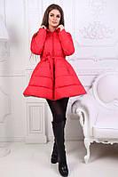 Куртка-пальто колокольчик ткань непромокаемая плащевка на трикотаже синтепон на силиконе 250 цвет красный , фото 1