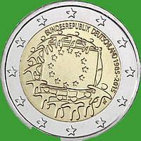 Германия 2 евро 2015 г. 30 лет флагу Евросоюза (D). UNC