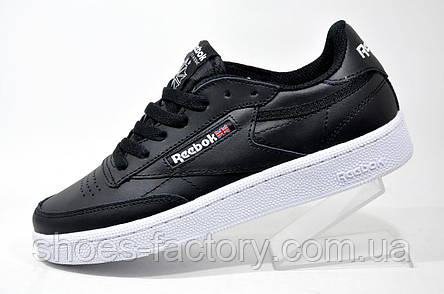 Кроссовки унисекс в стиле Reebok Club C 85 кожа, Black\White, фото 2