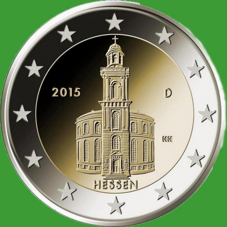 Германия 2 евро 2015 г. Гессен. UNC