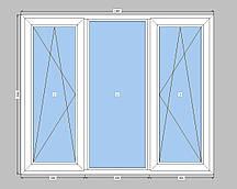 3-створчатое окно Rehau с двухкамерным стеклопакетом,окно на три части с двумя створками Рехау