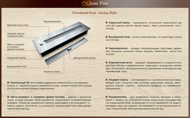 конструкция топливного блока биокамина GlossFire Алаид 400