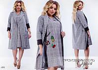 Платье с кардиганом клетка коттон-тира+вставки эко-кожа 42-44,46-48