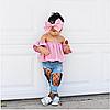 Детский костюм для девочки-Топ с открытыми плечами+рванные джинсы