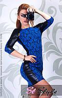 Женское модное платье из жакарда с кожзам вставками