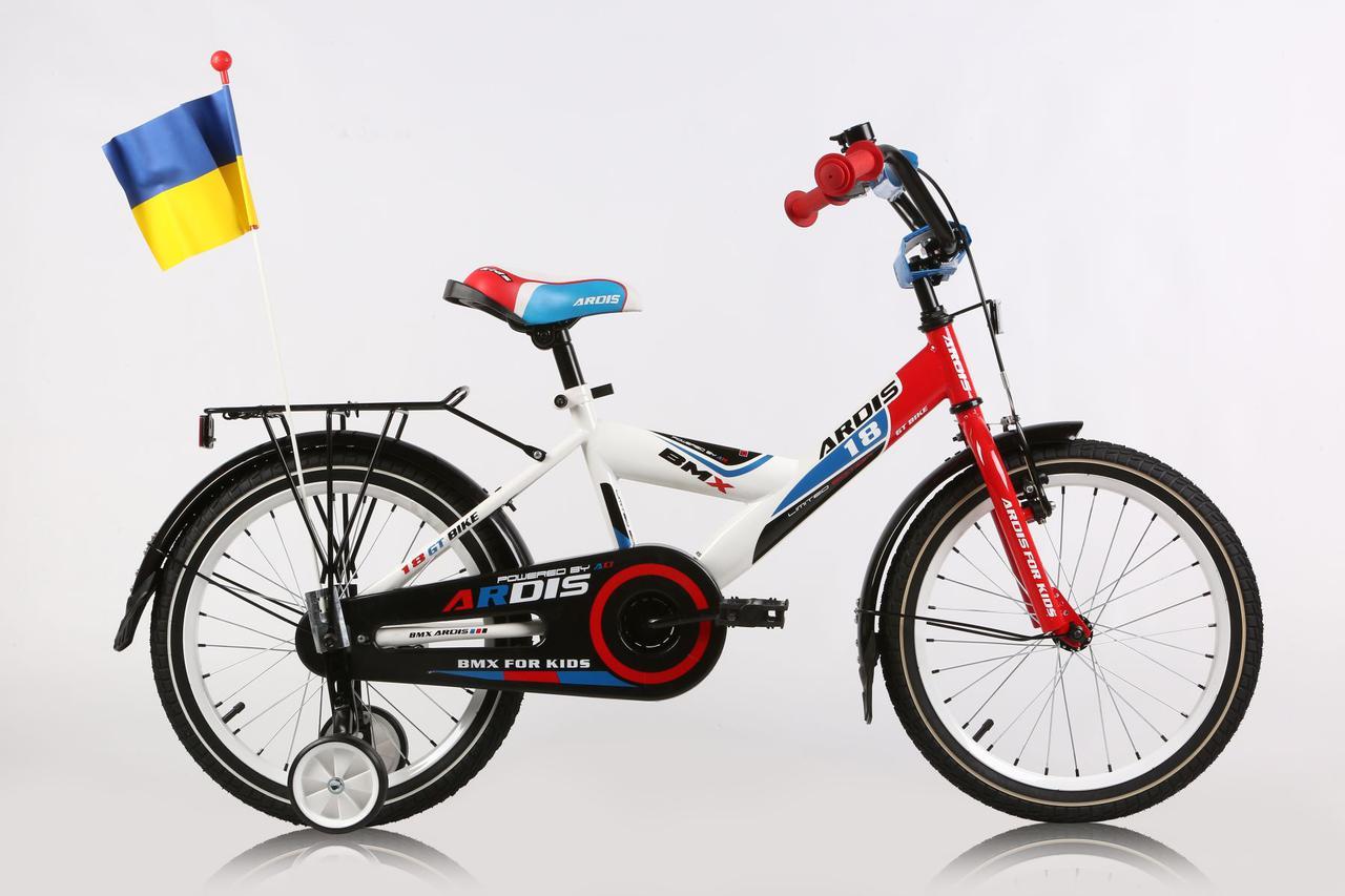 """Дитячий велосипед ARDIS GT BIKE 18"""" Білий/Червоний/Синій"""