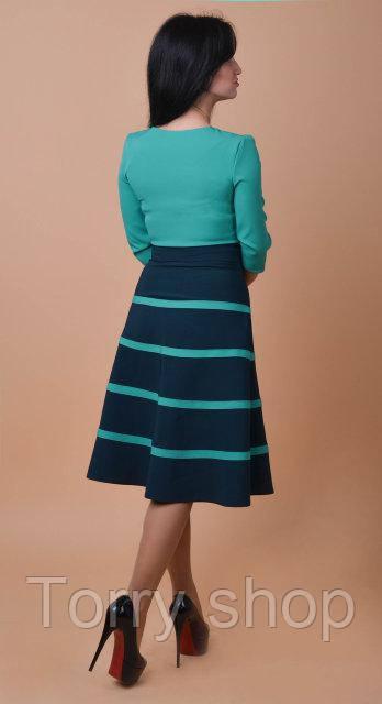 4f38213aae6edc6 ... Красивое платье средней длины с расклешенной юбкой, бирюзового цвета,  фото 5