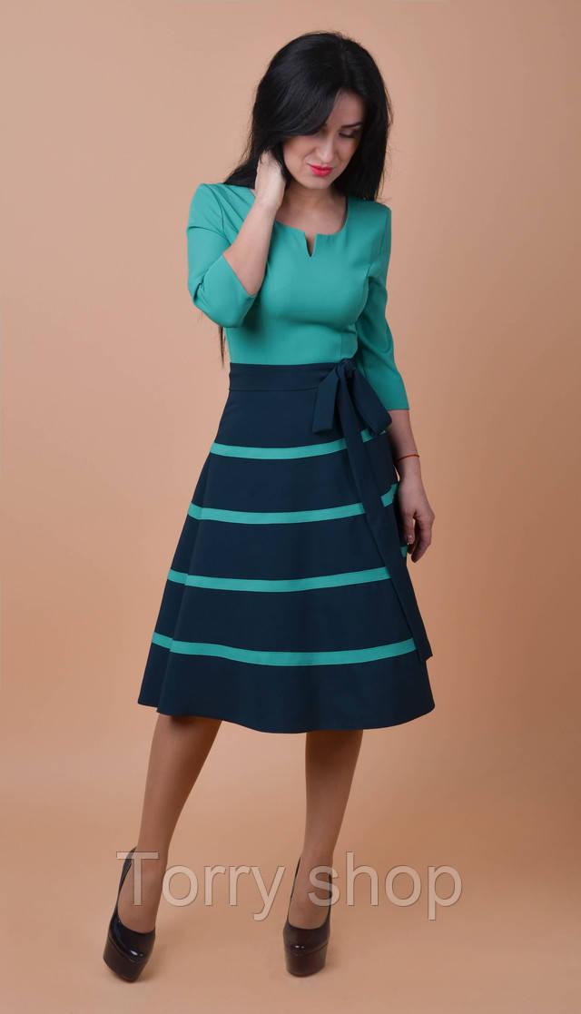 b35bcf04184b4cf Красивое платье средней длины с расклешенной юбкой, бирюзового цвета -  Torry shop в Хмельницком