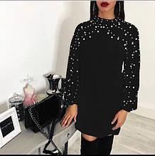 Платье теплое вязаное Бусинка чёрное
