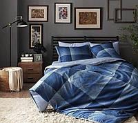 Семейный комплект постельного белья TAC SATIN TESS V01 синий
